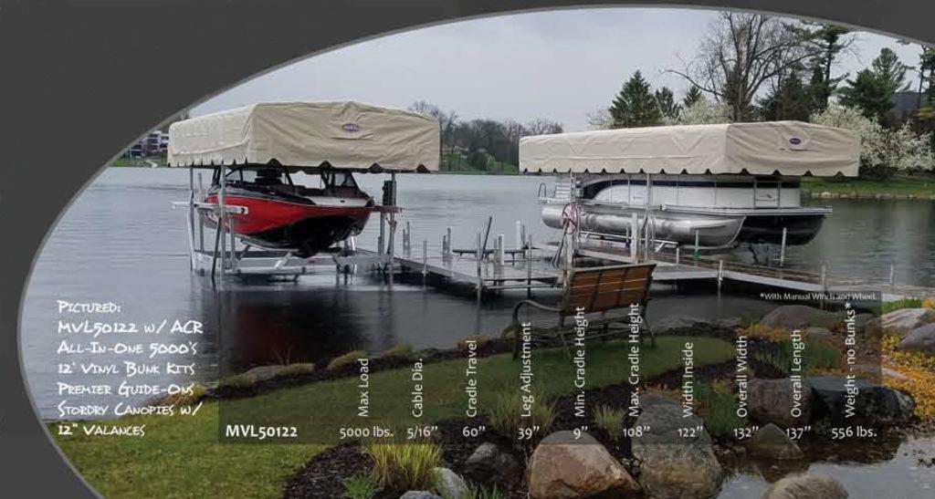 MAX MVL50122ACR BOAT LIFT W/CANOPY FRAME & VINYL CANOPY | Cove-Marine